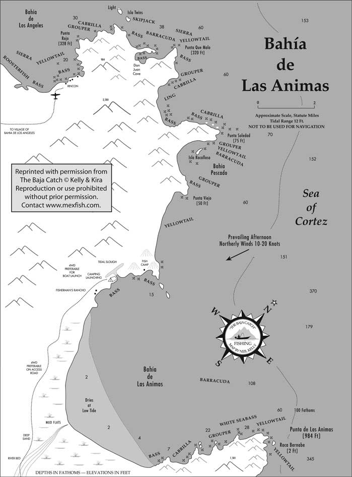 Bahia De Los Angeles Map.Bahia De Las Animas Fishing Map