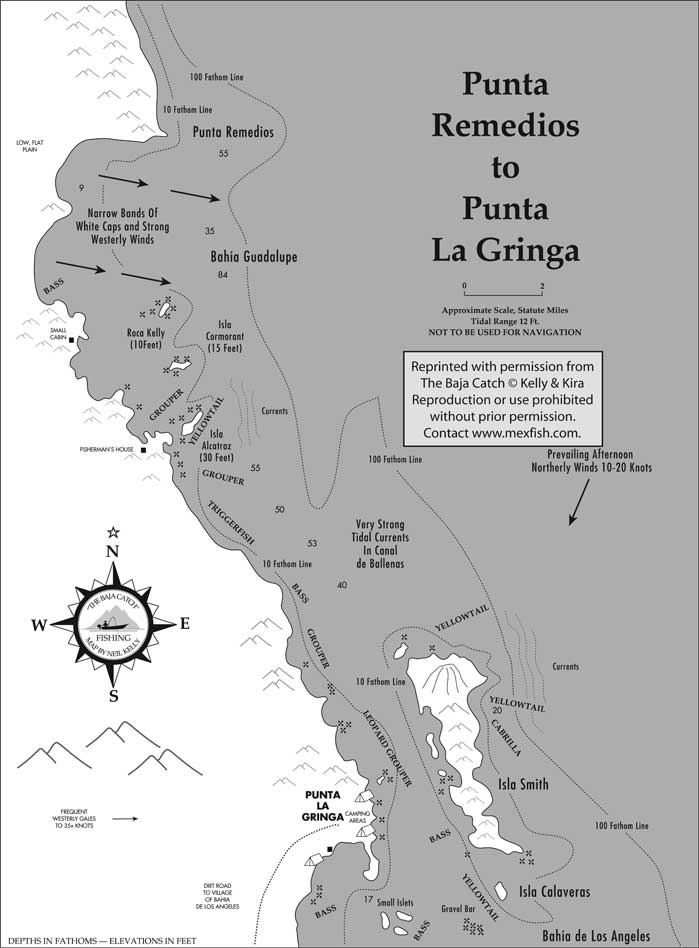 Bahia De Los Angeles Map.Punta Remedios Fishing Map
